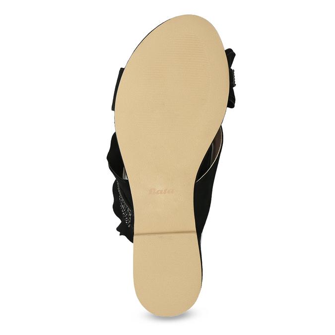 Černé dámské nazouváky s volánem a kamínky bata, černá, 569-6602 - 18