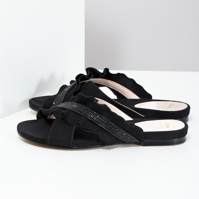 Černé dámské nazouváky s volánem a kamínky bata, černá, 569-6602 - 16
