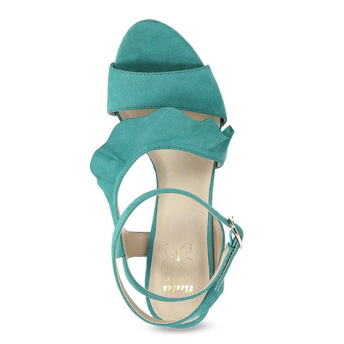 Dámské sandály s volánem tyrkysové insolia, tyrkysová, 769-9620 - 17