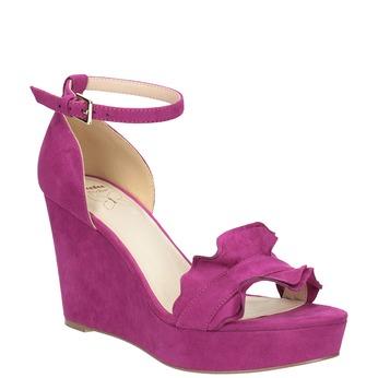 Sandály na klínku s volánem insolia, růžová, 769-5618 - 13