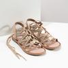 Béžové kožené sandály se šněrováním a korálky bata, béžová, 566-8639 - 26
