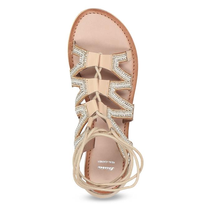 Béžové kožené sandály se šněrováním a korálky bata, béžová, 566-8639 - 17