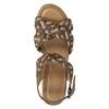 Kožené pletené sandály na klínku hnědé bata, hnědá, 666-4622 - 17