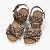 Kožené pletené sandály na klínku hnědé bata, hnědá, 666-4622 - 16