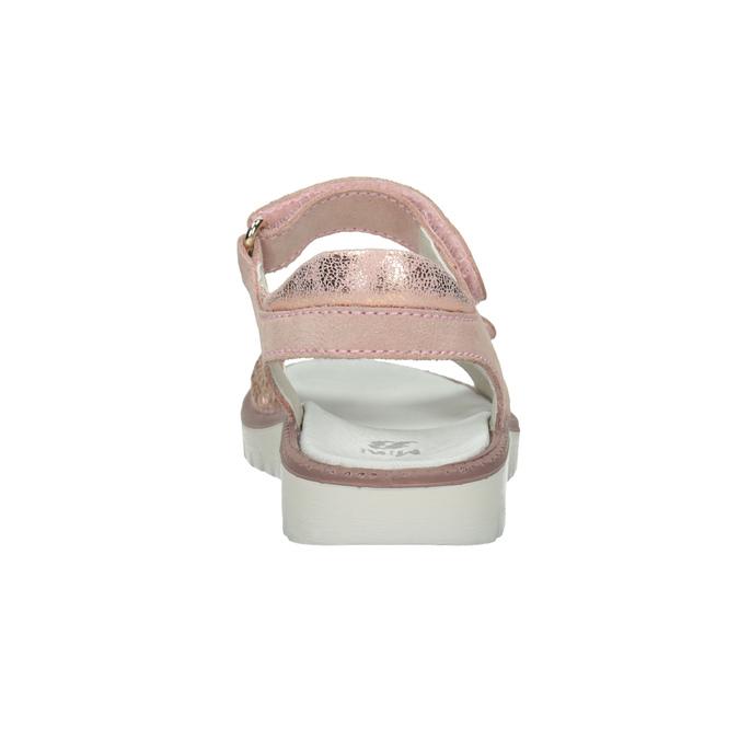 Dívčí kožené sandály s kamínky růžové mini-b, růžová, 463-5603 - 15