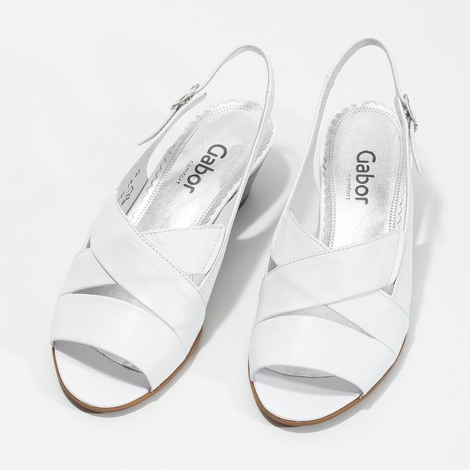 Bílé kožené sandály na stabilním podpatku šíře H gabor, bílá, 666-1351 - 16