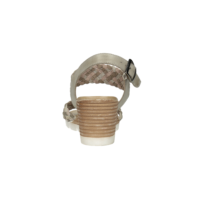 Kožené pletené sandály na klínku béžové bata, vícebarevné, 666-1622 - 15