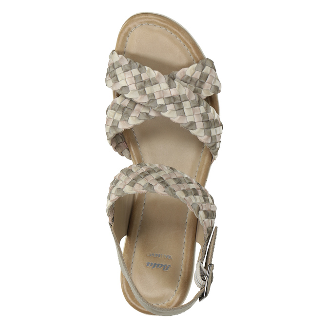 Kožené pletené sandály na klínku béžové bata, vícebarevné, 666-1622 - 17