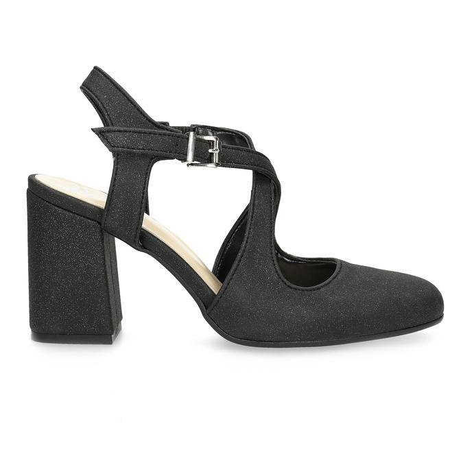 Černé dámské sandály na podpatky se třpytkami insolia, černá, 726-6653 - 19