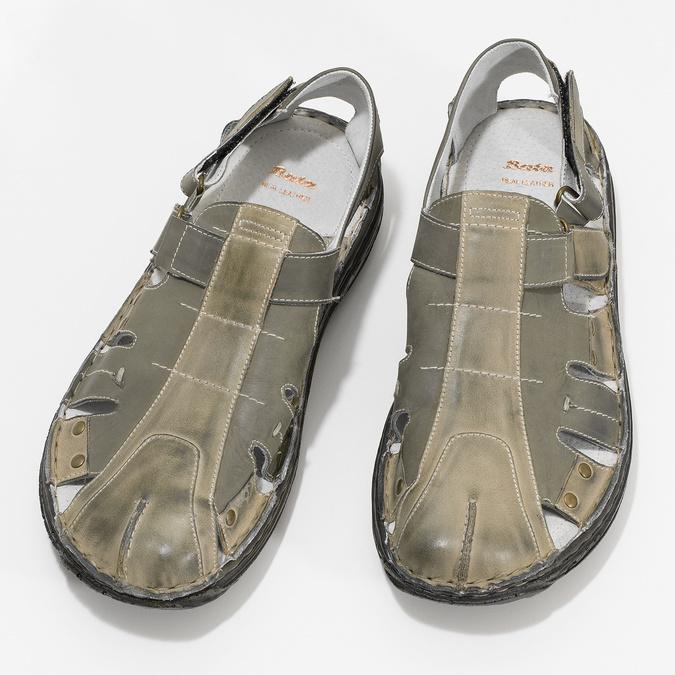 Pánské kožené sandály hnědé bata, hnědá, 866-2622 - 16