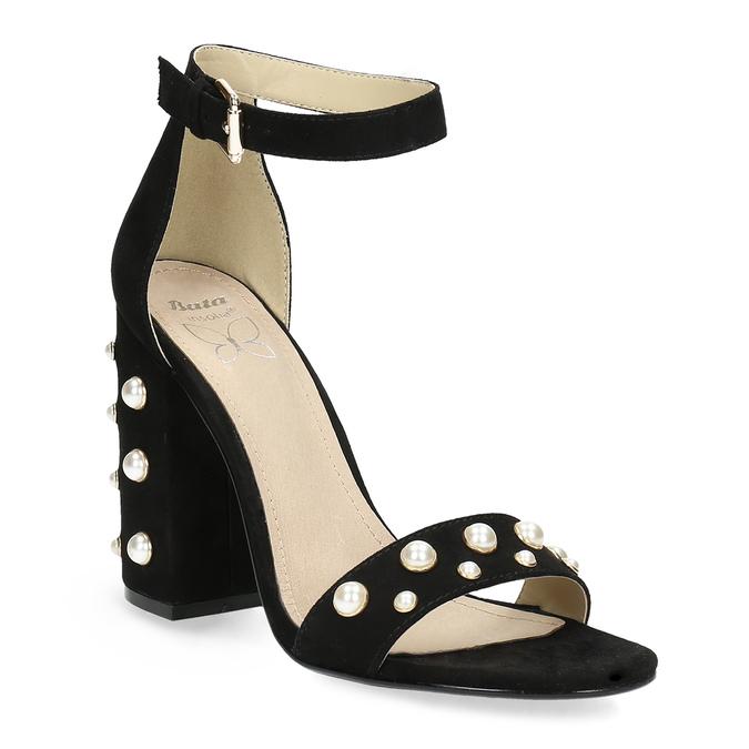Dámské sandály na širokém podpatku s perličkami insolia, černá, 769-6623 - 13