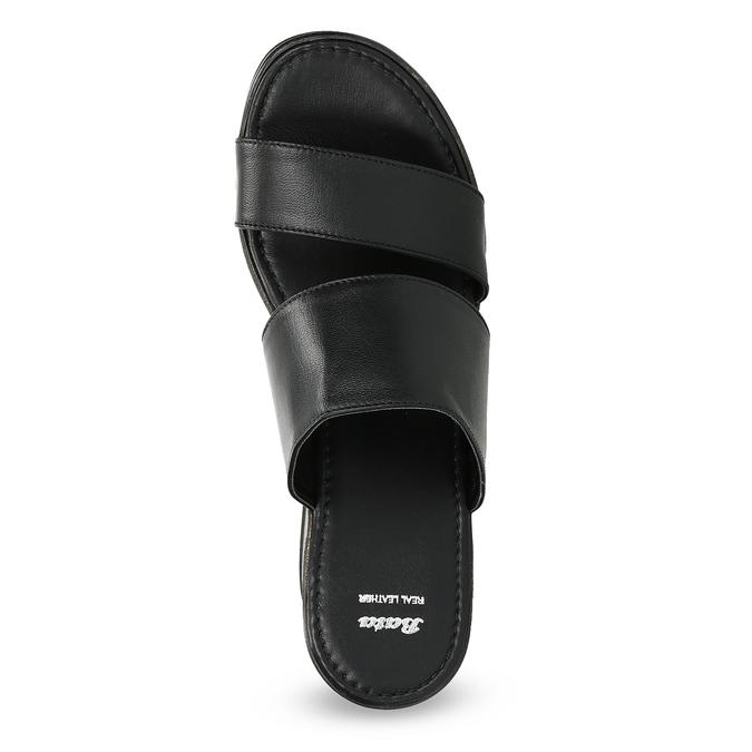 Kožené nazouváky na flatformě bata, černá, 766-6613 - 17