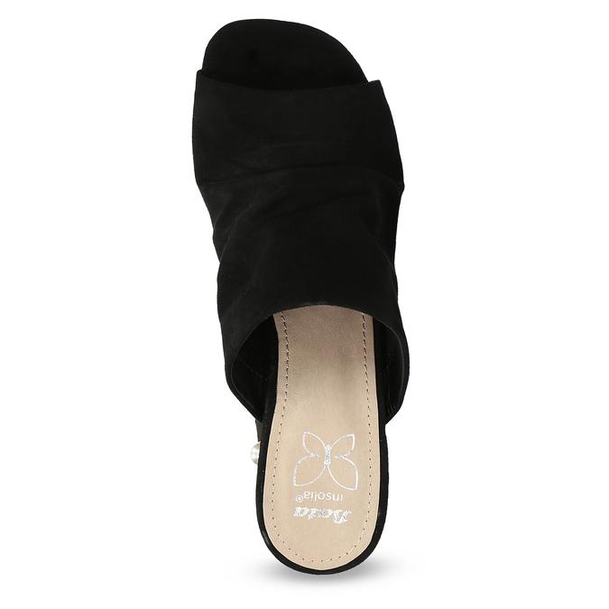Černé nazouváky na podpatku s perličkami insolia, černá, 769-6624 - 17