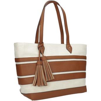 Dámská kabelka s hnědými pruhy bata, béžová, 969-8672 - 13