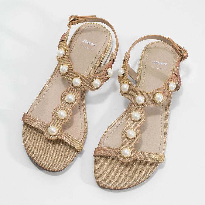 Zlaté sandály s perličkami bata, zlatá, 569-5606 - 16