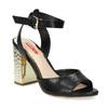 Černé sandály na zlatém podpatku bata-red-label, černá, 761-6619 - 13