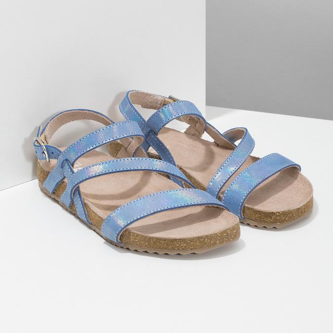 Dívčí sandály s holografickými pásky mini-b, modrá, 466-1609 - 26