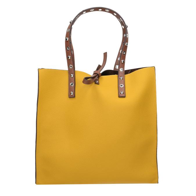 Žlutá shopper bag kabelka se cvočky bata, žlutá, 961-8296 - 26