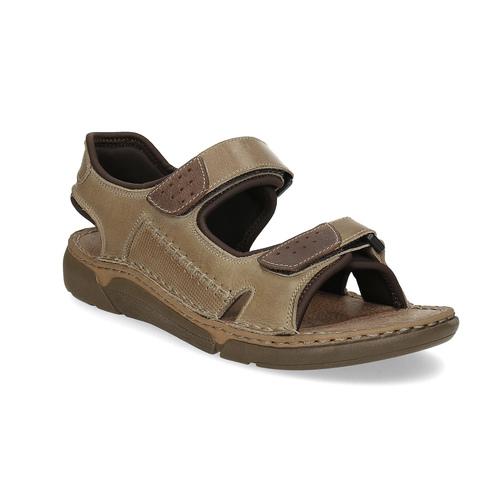 Kožené pánské sandály se suchými zipy béžové weinbrenner, hnědá, 866-2644 - 13