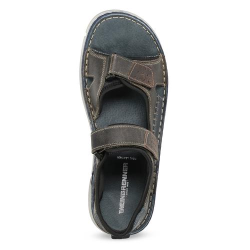 Kožené pánské sandály černo-modré weinbrenner, šedá, 866-4643 - 17