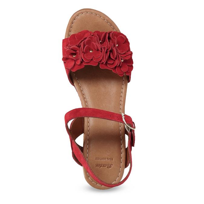 Červené sandály na flatformě bata, červená, 763-5601 - 17