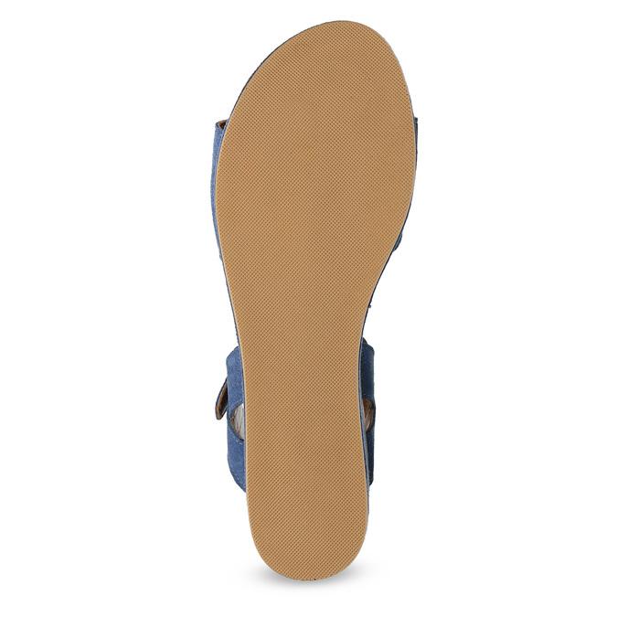Kožené sandály na flatformě modré bata, modrá, 763-9601 - 18