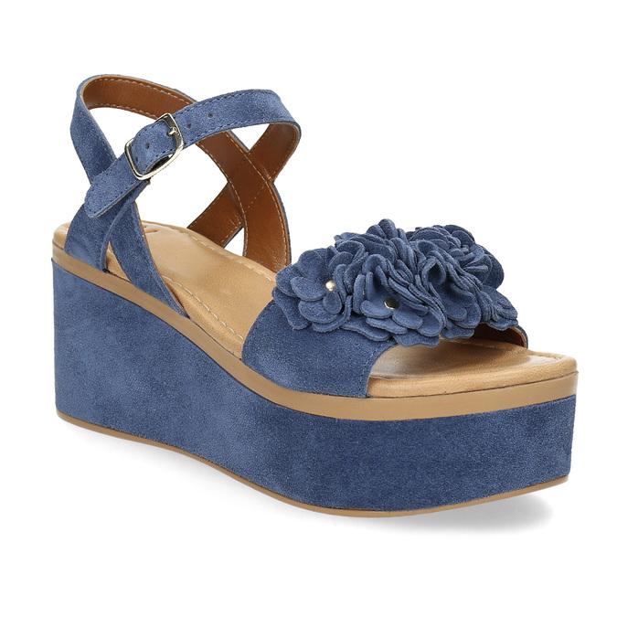Kožené sandály na flatformě modré bata, modrá, 763-9601 - 13