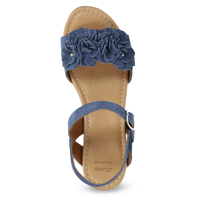 Kožené sandály na flatformě modré bata, modrá, 763-9601 - 17