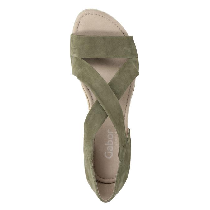 Khaki kožené sandály na klínovém podpatku gabor, khaki, 766-7379 - 15