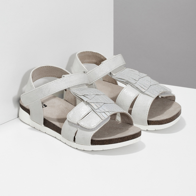 Stříbrné dívčí sandály mini-b, stříbrná, 261-1612 - 26