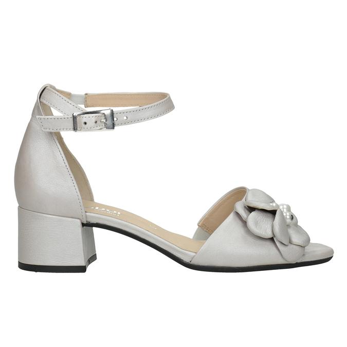 Kožené stříbrné sandály na podpatku šíře G gabor, stříbrná, 766-8022 - 26