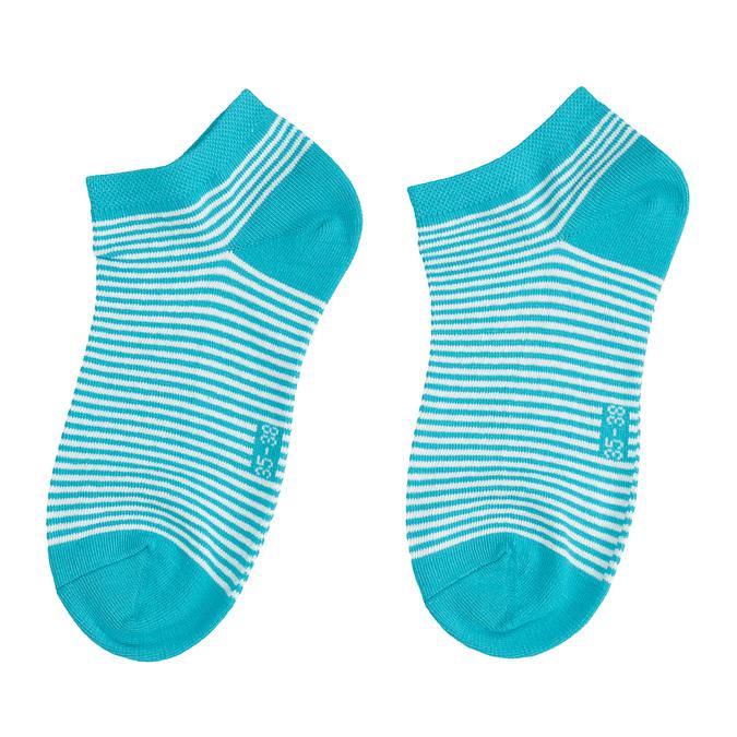 Dámské kotníkové ponožky pruhované modré bata, tyrkysová, 919-9816 - 26