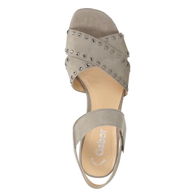 kožené sandály na nízkém podpatku s kamínky gabor, béžová, 663-8005 - 15
