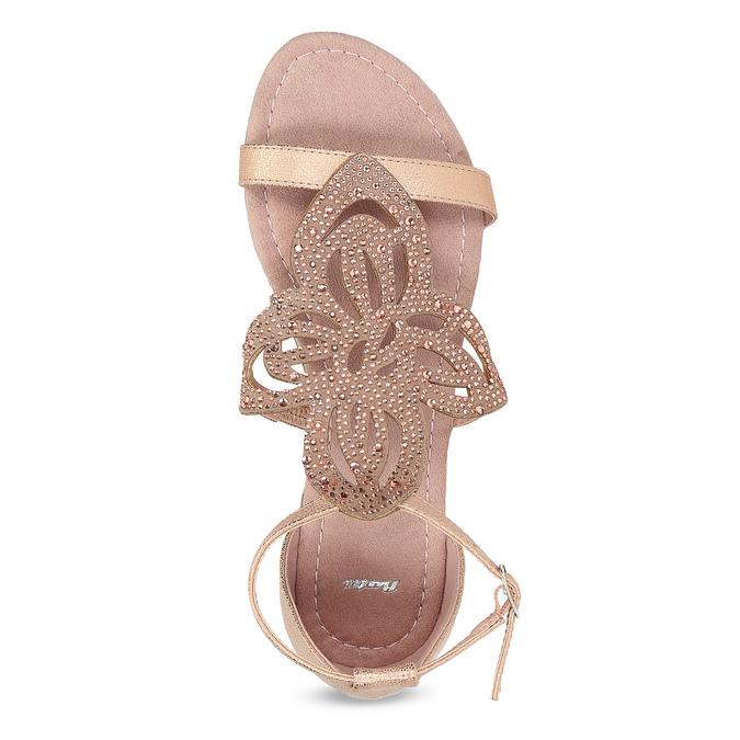 Starorůžové dámské sandály s kamínky bata, růžová, 561-5614 - 17