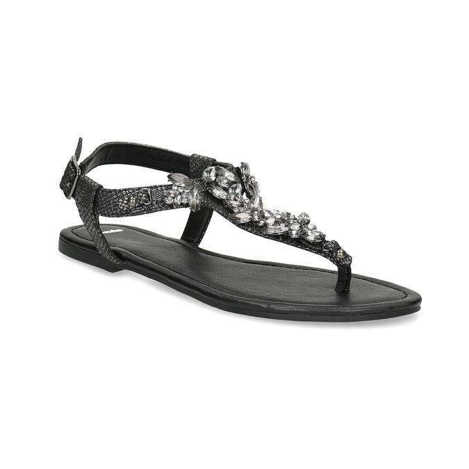 Černé dámské sandály s kamínky bata, černá, 561-6612 - 13