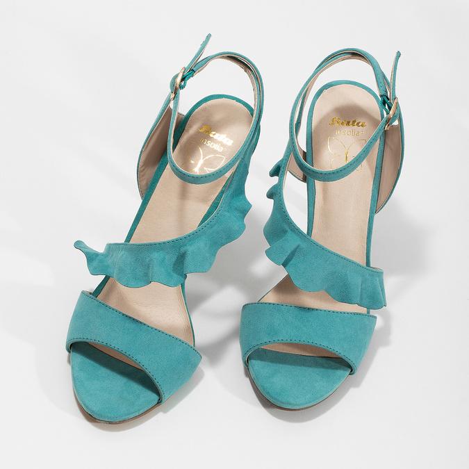 Dámské sandály s volánem tyrkysové insolia, tyrkysová, 769-9620 - 16