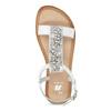 Kožené dívčí sandály s kamínky na nártu mini-b, bílá, 364-1128 - 17
