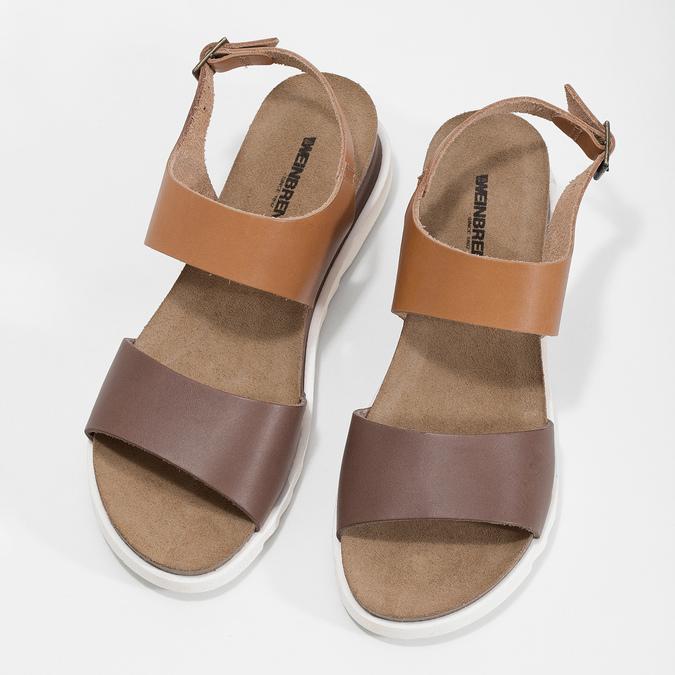 Dámské kožené sandály s korkovou podešví weinbrenner, hnědá, 566-4644 - 16