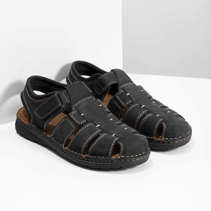 Pánské kožené sandály s plnou špičkou černé bata, černá, 866-6616 - 26
