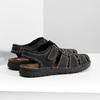 Pánské kožené sandály s plnou špičkou černé bata, černá, 866-6616 - 16