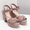 Růžové dámské sandály na širokém podpatku bata-red-label, růžová, 666-9621 - 26