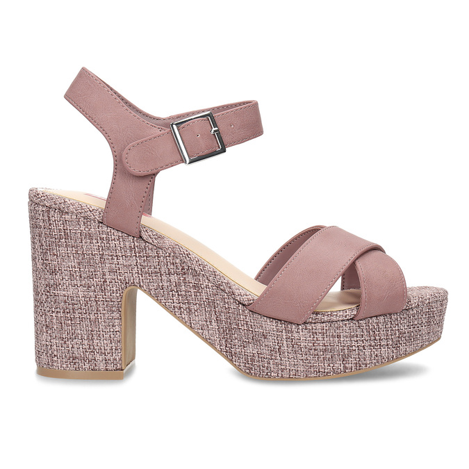Růžové dámské sandály na širokém podpatku bata-red-label, růžová, 666-9621 - 19
