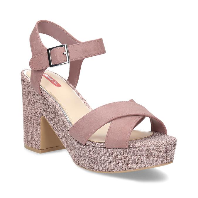 Růžové dámské sandály na širokém podpatku bata-red-label, růžová, 666-9621 - 13