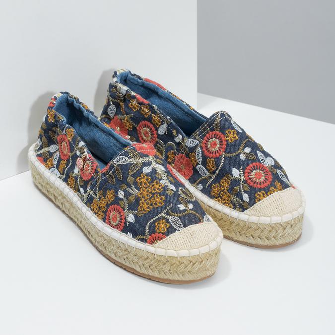 Dámské espadrilky s květinami bata, modrá, 559-5604 - 26