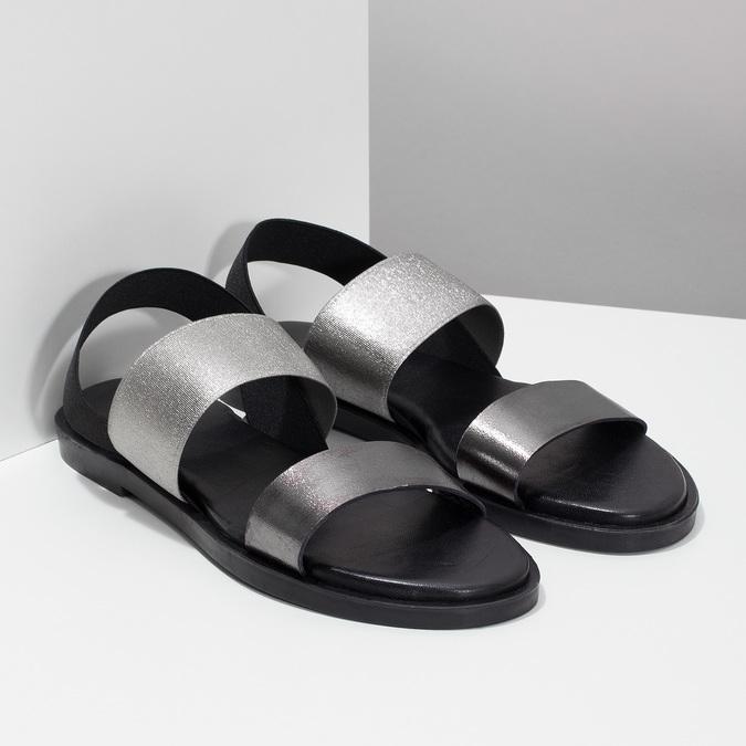 Kožené dámské černo-stříbrné sandály bata, černá, 566-6638 - 26