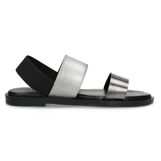 Kožené dámské černo-stříbrné sandály bata, černá, 566-6638 - 19