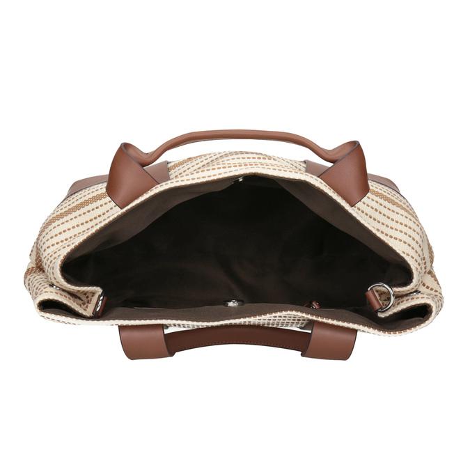 Hnědo-béžová kabelka s pruhy bata, béžová, 969-1307 - 15