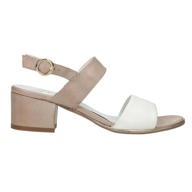 Kožené sandály na nízkém podpatku bata, béžová, 666-8626 - 16