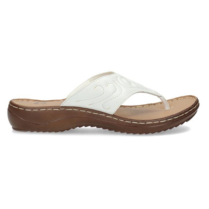 Bílé kožené dámské žabky comfit, bílá, 566-1632 - 19