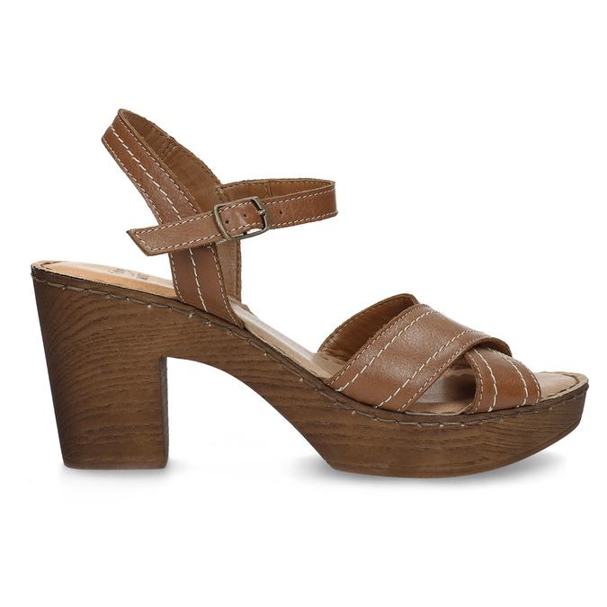 Hnědé kožené sandály na dřevěném podpatku comfit, hnědá, 666-4624 - 19